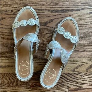Gold Jack Rogers espadrille style sandals